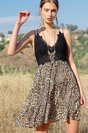 LA MIEL  Flower Crochet Leopard Print Slip Dress - Product Mini Image