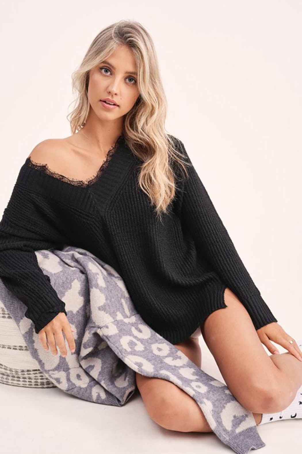 Mint Cloud Boutique Loose Fit Waffle Fabric One Shoulder Top With Lace Around The V Neck - Main Image