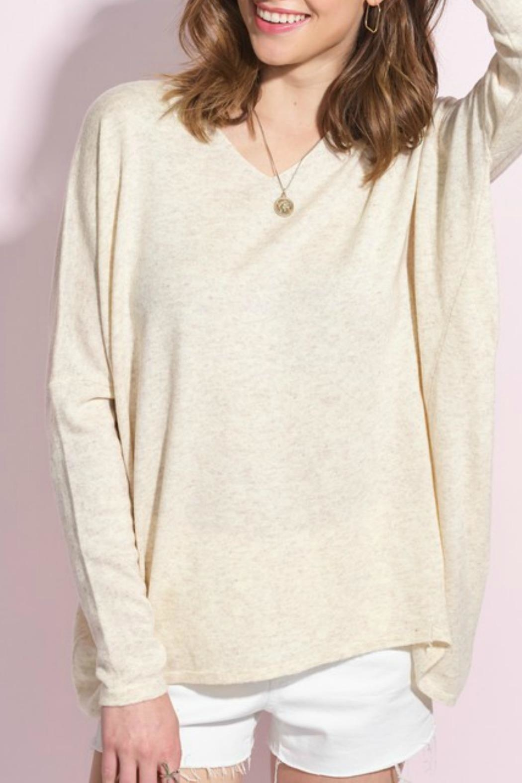 LA MIEL  Olive Slouchy Sweater - Front Full Image