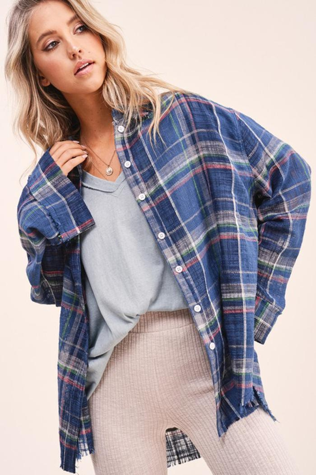 LA MIEL  Plaid Linen Touch Cotton Shirt With Raw Cut Detailing - Front Cropped Image