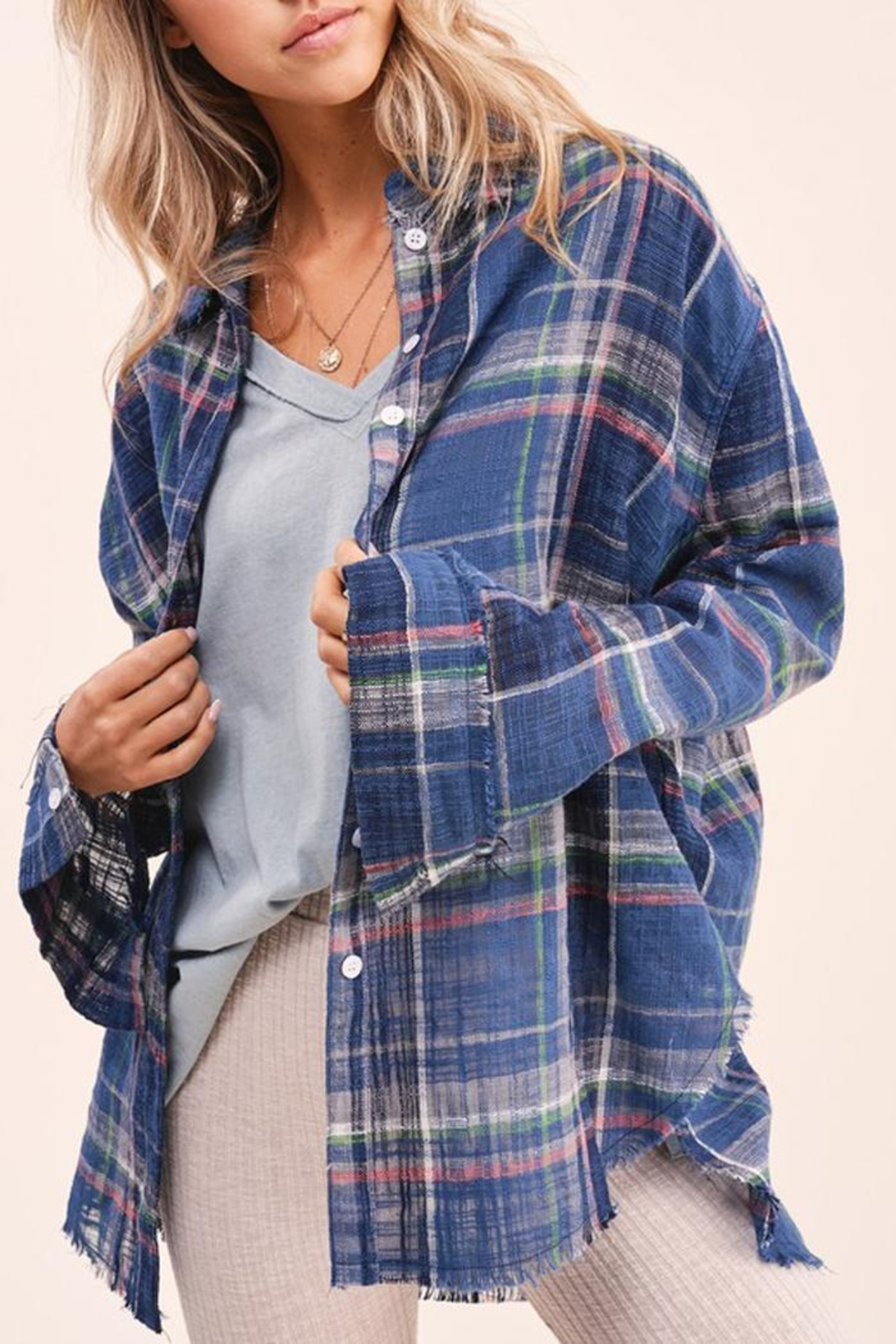 LA MIEL  Plaid Linen Touch Cotton Shirt With Raw Cut Detailing - Front Full Image