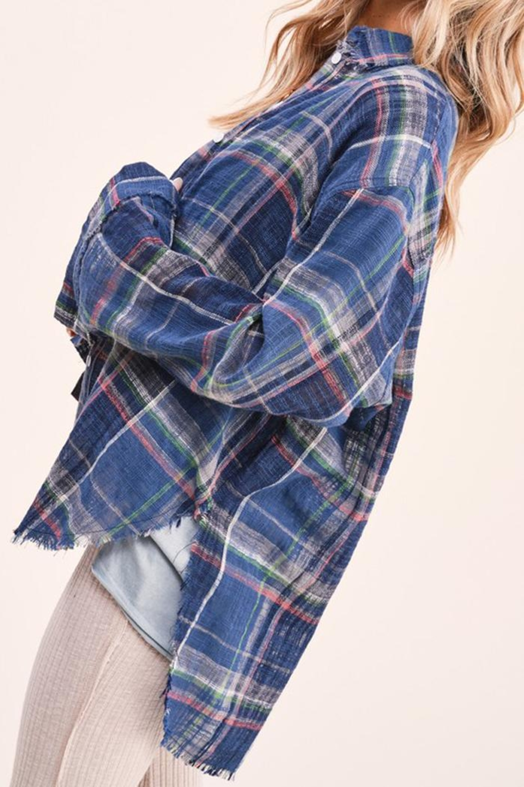 LA MIEL  Plaid Linen Touch Cotton Shirt With Raw Cut Detailing - Side Cropped Image