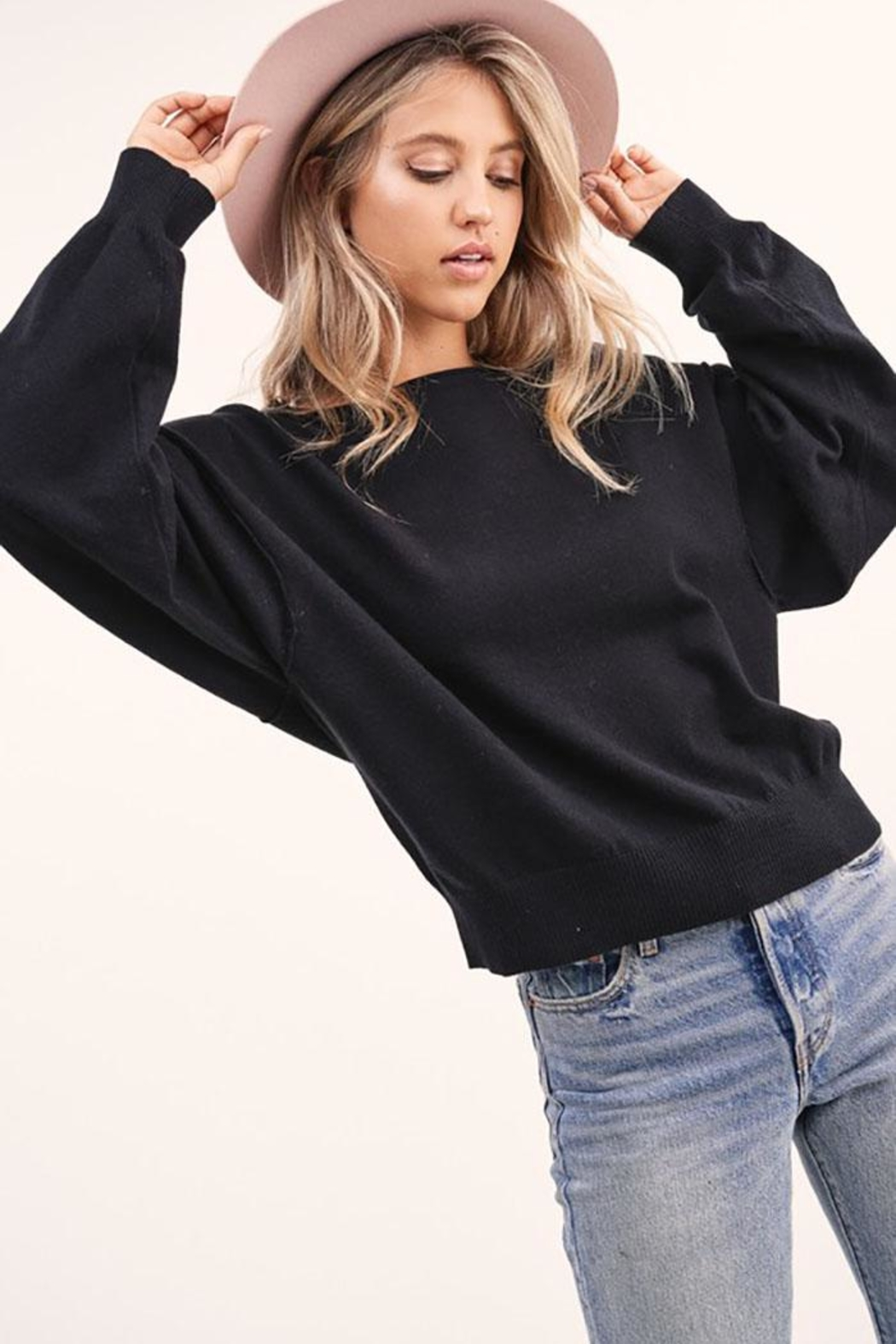 LA MIEL  Solid Off Shoulder Pullover Sweater Top - Front Cropped Image