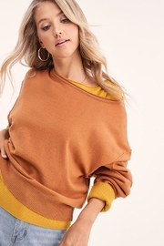 LA MIEL  Solid Off Shoulder Pullover Sweater Top - Side cropped