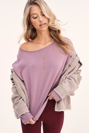 LA MIEL  Solid Off Shoulder Pullover Sweater Top - Front full body