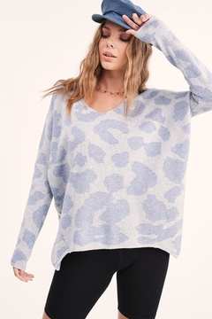 LA MIEL  V Neck Animal Leopard Pullover Sweater Top - Product List Image