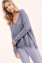 LA MIEL  V-Neck Thermal Waffle Knit Tunic Top - Front cropped