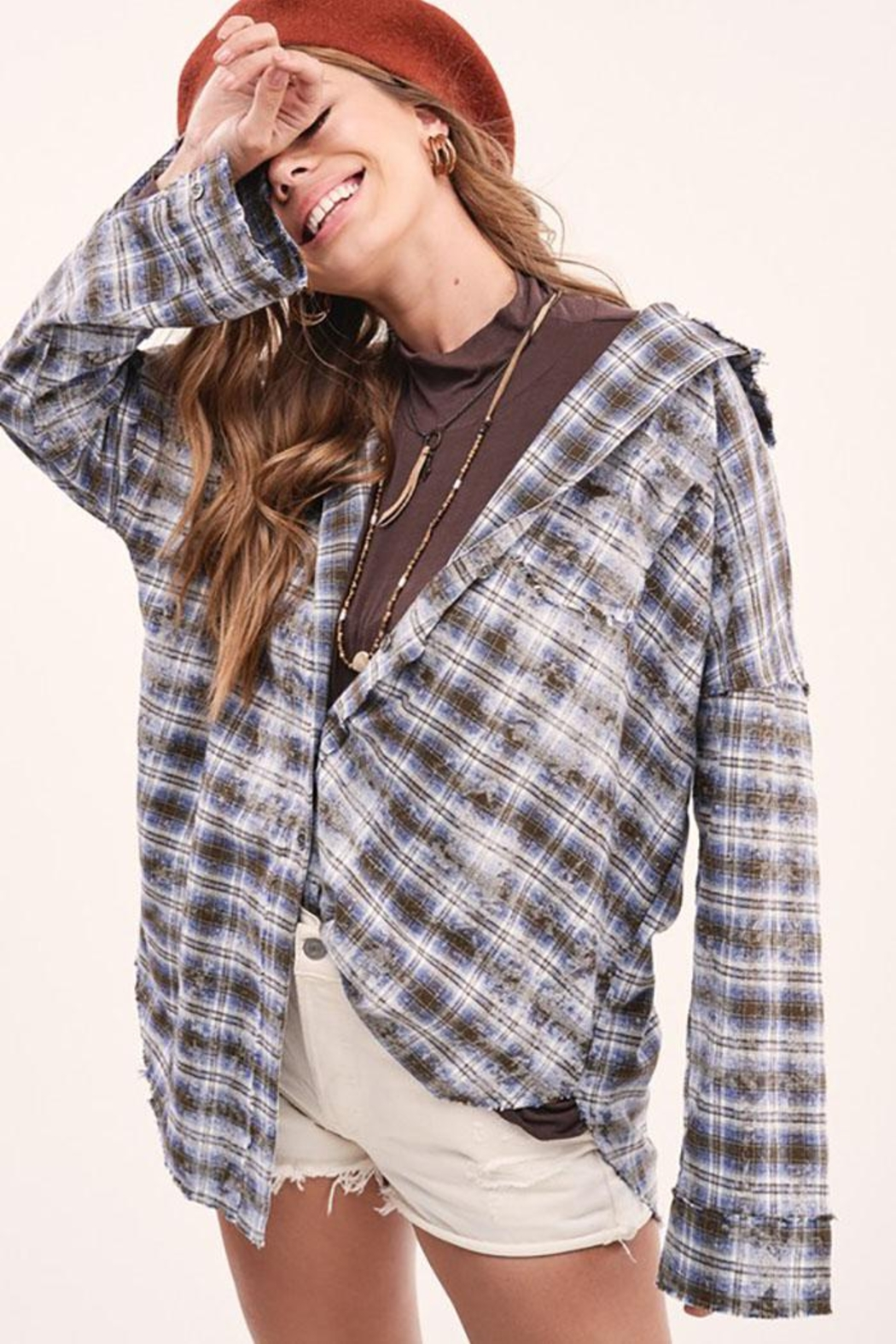 Mint Cloud Boutique Vintage Checkered Plaid Flannel Shirt - Front Full Image