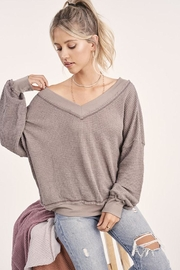 LA MIEL  Waffle V-Neck Top - Front full body