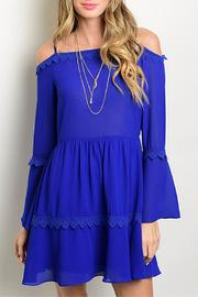 La Reyna  Blue Off The Shoulder Dress - Front cropped