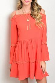 La Reyna  Orange Cold Shoulder Dress - Product Mini Image
