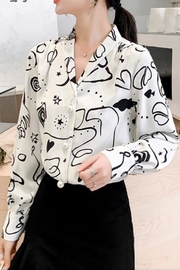 La Ros Abstract Print Blouse - Product Mini Image