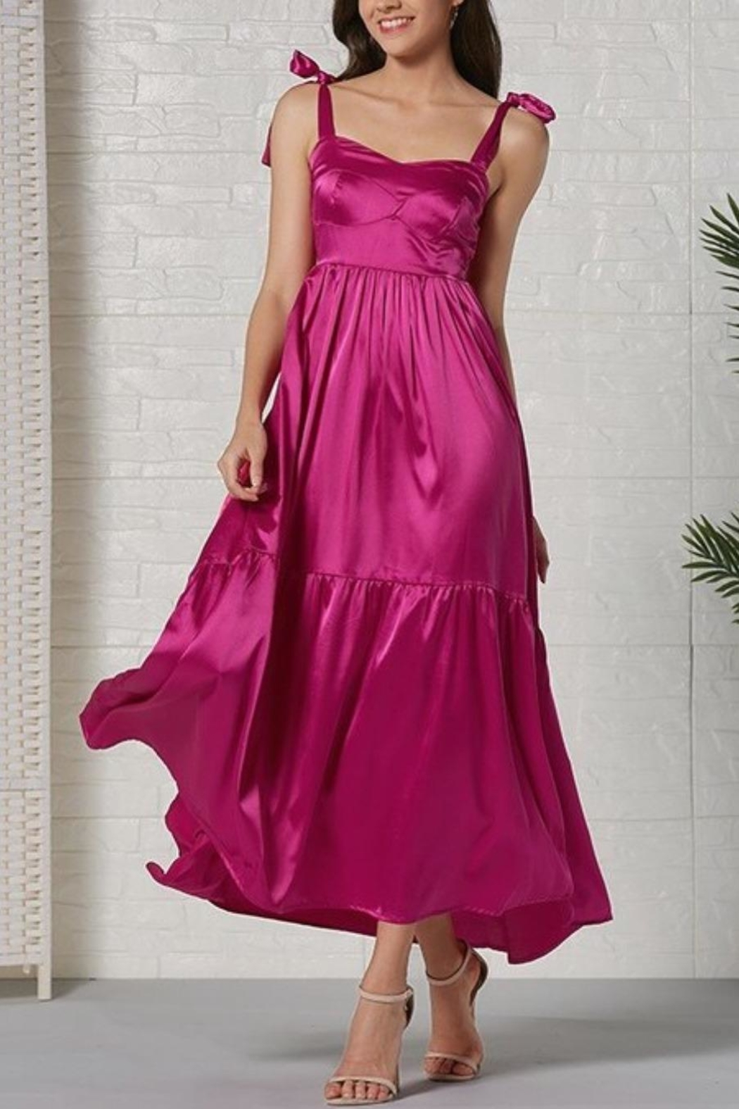 La Ros Magenta Maxi Dress - Front Cropped Image