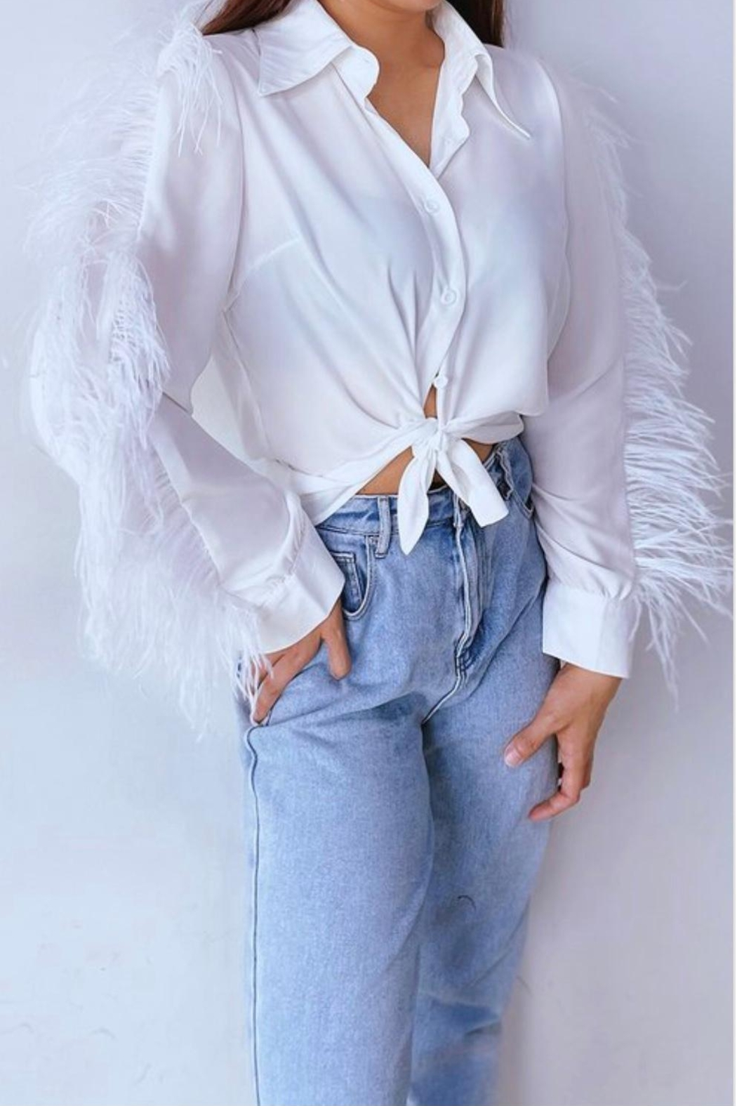 La Ros White Feather Blouse - Front Full Image