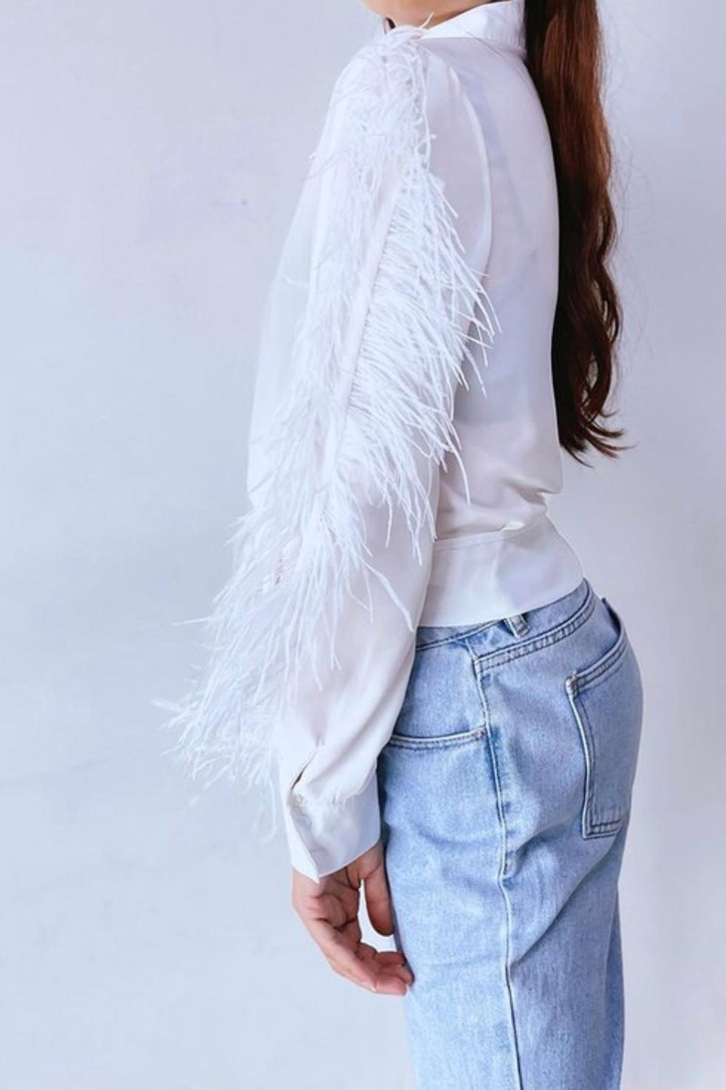La Ros White Feather Blouse - Side Cropped Image