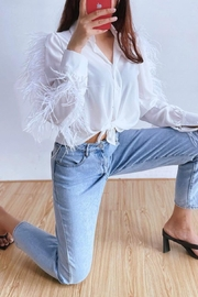 La Ros White Feather Blouse - Back cropped