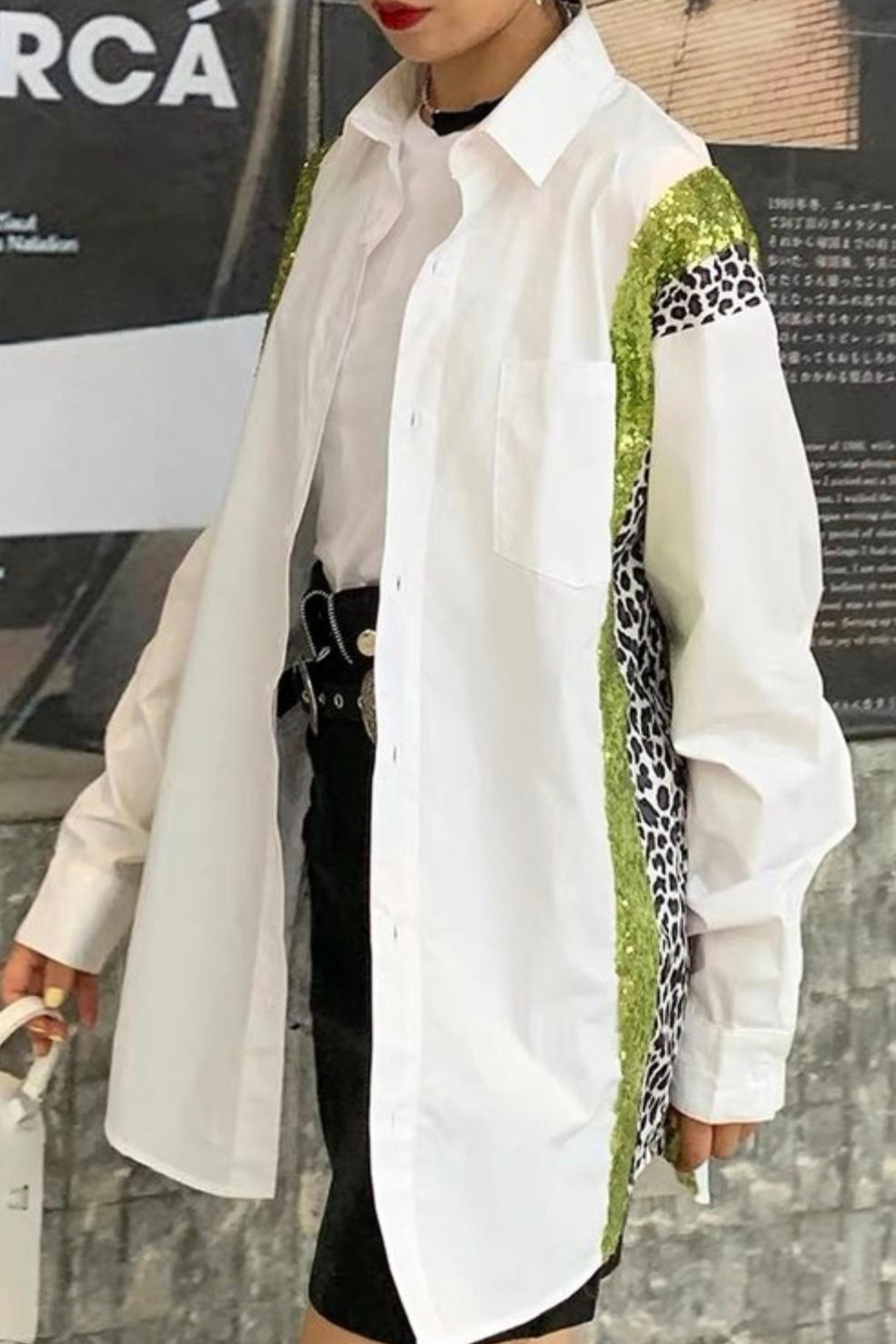 La Ros White Shirt With Sequins - Front Full Image