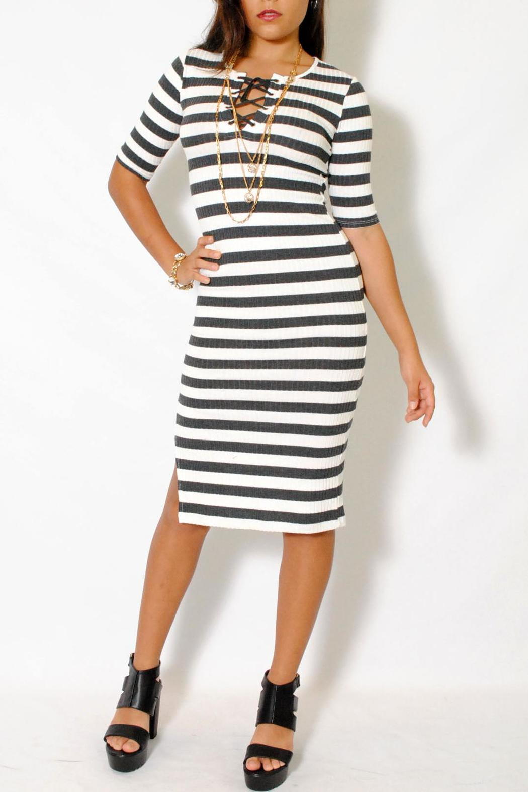 Theeffortlesschic La Roxx Laced Up Striped Dress From Miami By L A Roxx
