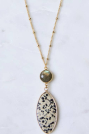 Mesa Blue Labradorite and Dalmatian Jasper Long Necklace - Product Mini Image