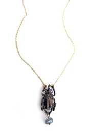 Malia Jewelry Labradorite Beetle Necklace - Front cropped