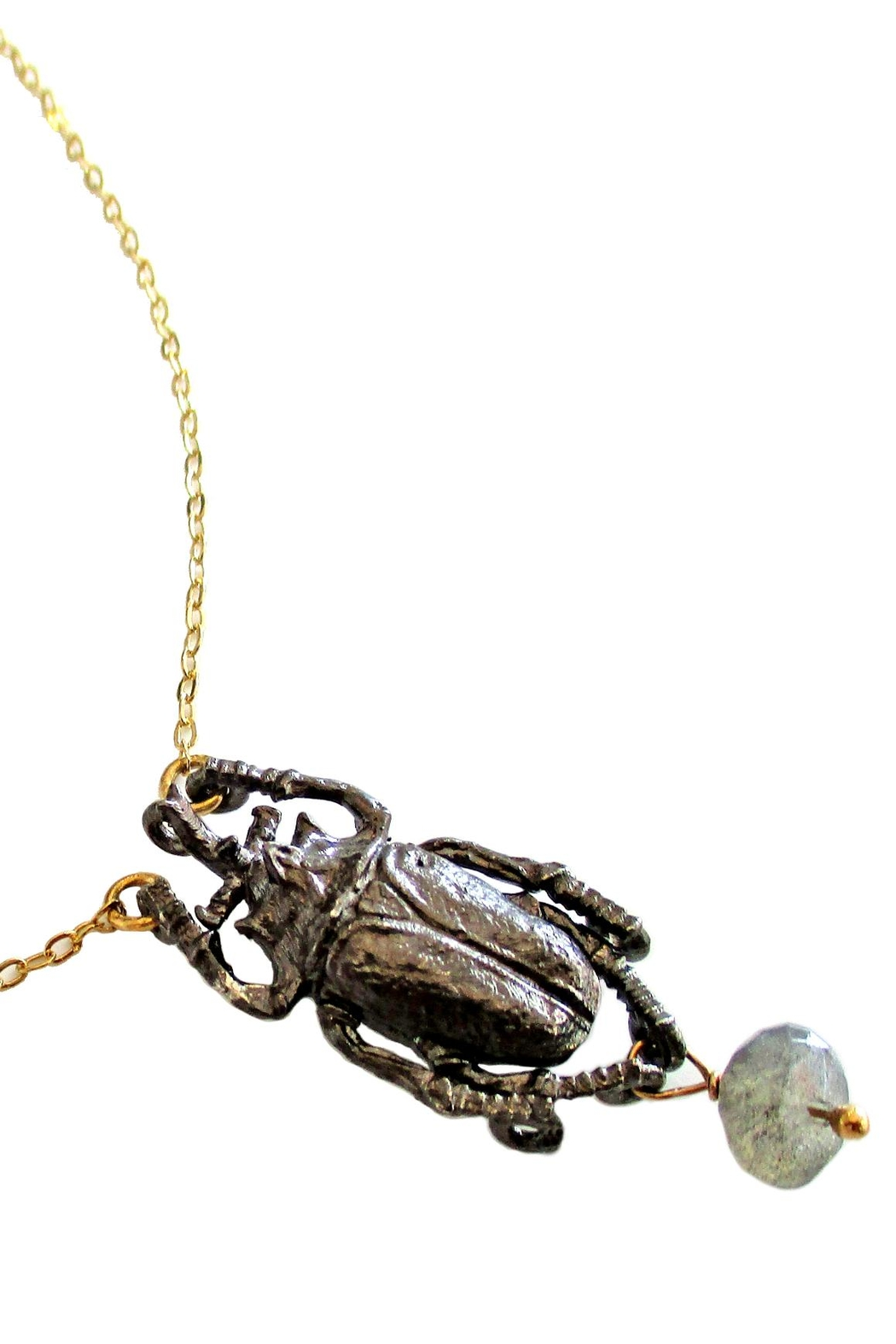 Malia Jewelry Labradorite Beetle Necklace - Side Cropped Image