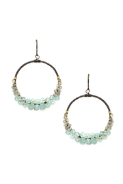 Calliope Labradorite & Chalcedony Wrapped Oxidized Silver Circle Earrings - Product Mini Image