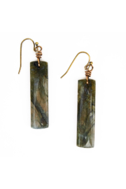 The Birds Nest LABRADORITE RECTANGLE EARRINGS - Product Mini Image