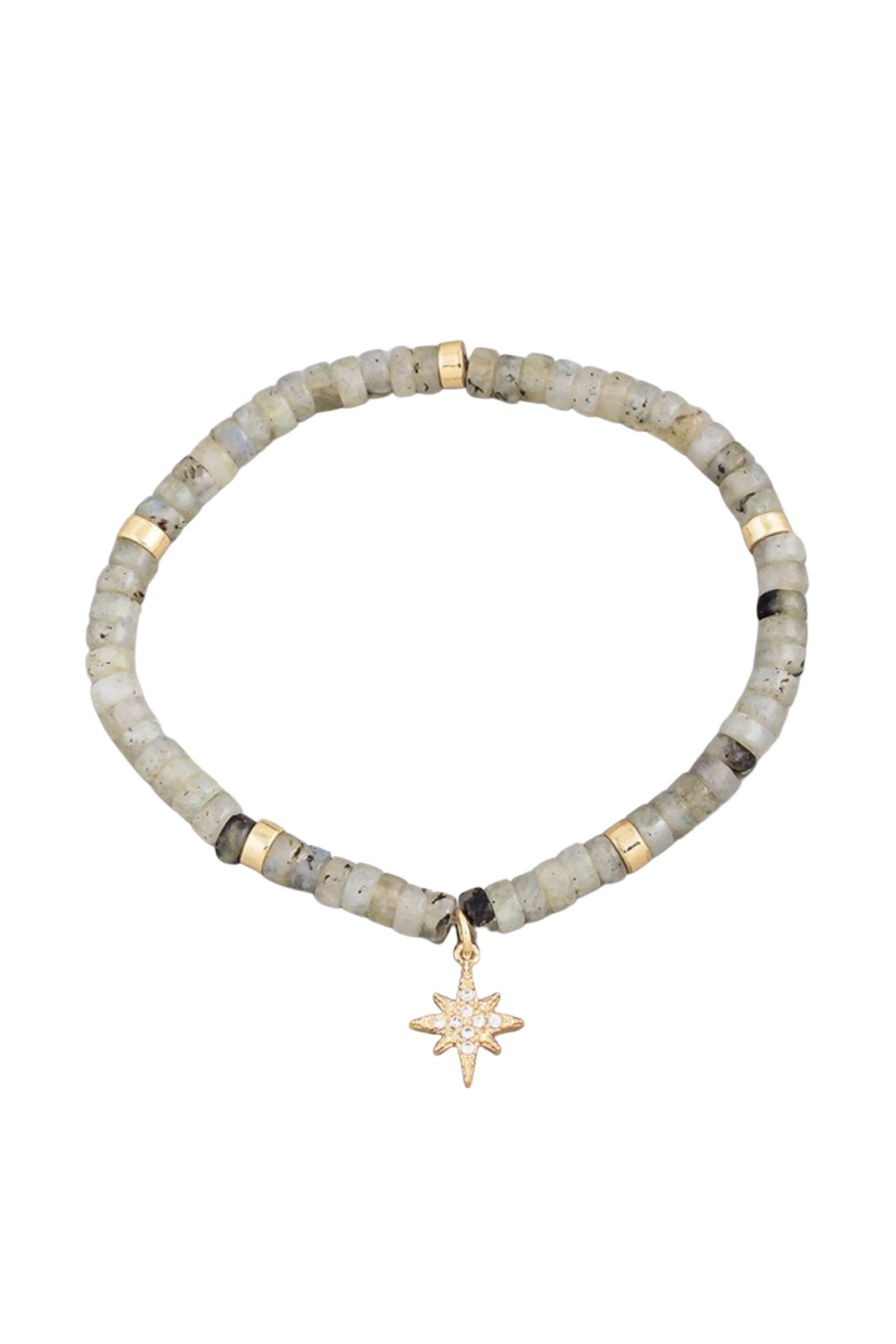 Fame Accessories Labradorite Stone Beaded North Star Charm Bracelet - Main Image