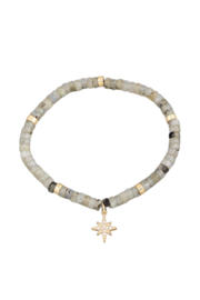 Fame Accessories Labradorite Stone Beaded North Star Charm Bracelet - Front cropped
