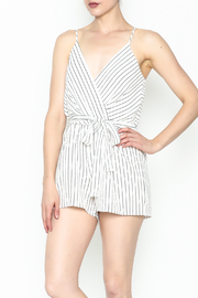 Lac Bleu Striped Cami Romper - Front cropped