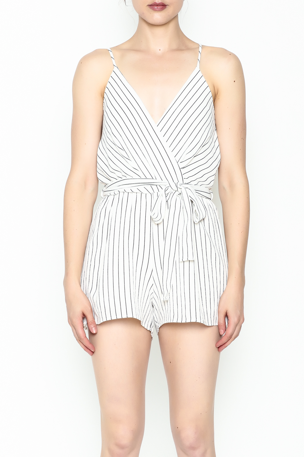Lac Bleu Striped Cami Romper - Front Full Image
