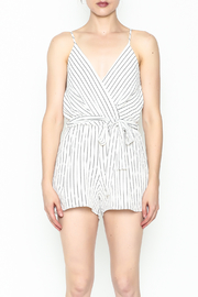 Lac Bleu Striped Cami Romper - Front full body