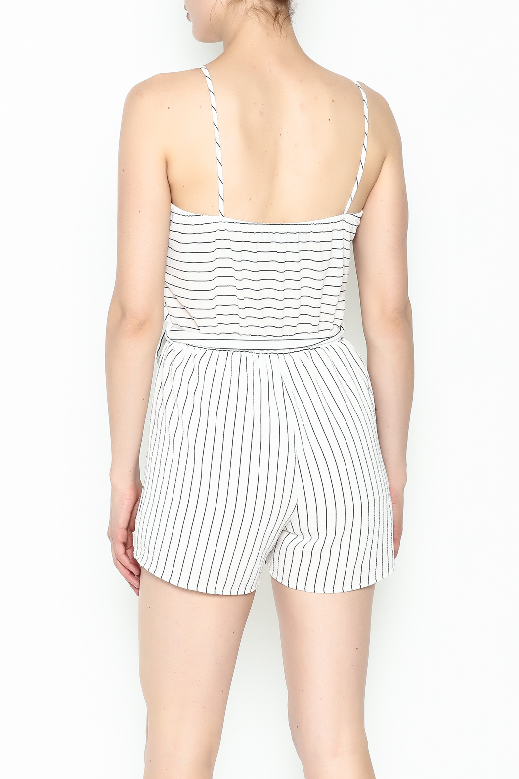 Lac Bleu Striped Cami Romper - Back Cropped Image