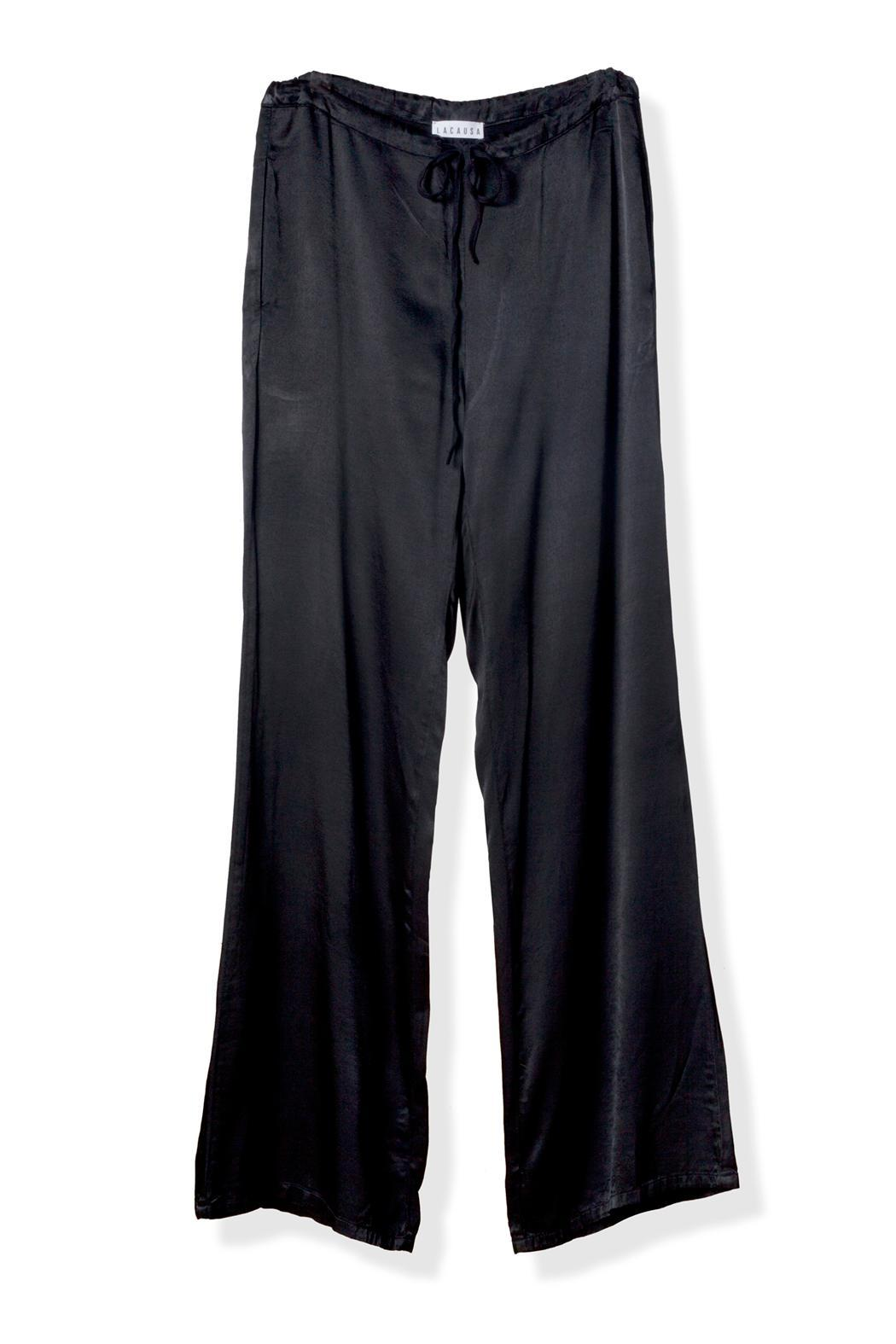 LACAUSA Satin Tie Pants - Front Cropped Image