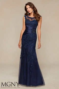 Shoptiques Product: Lace and Satin Gown, Navy