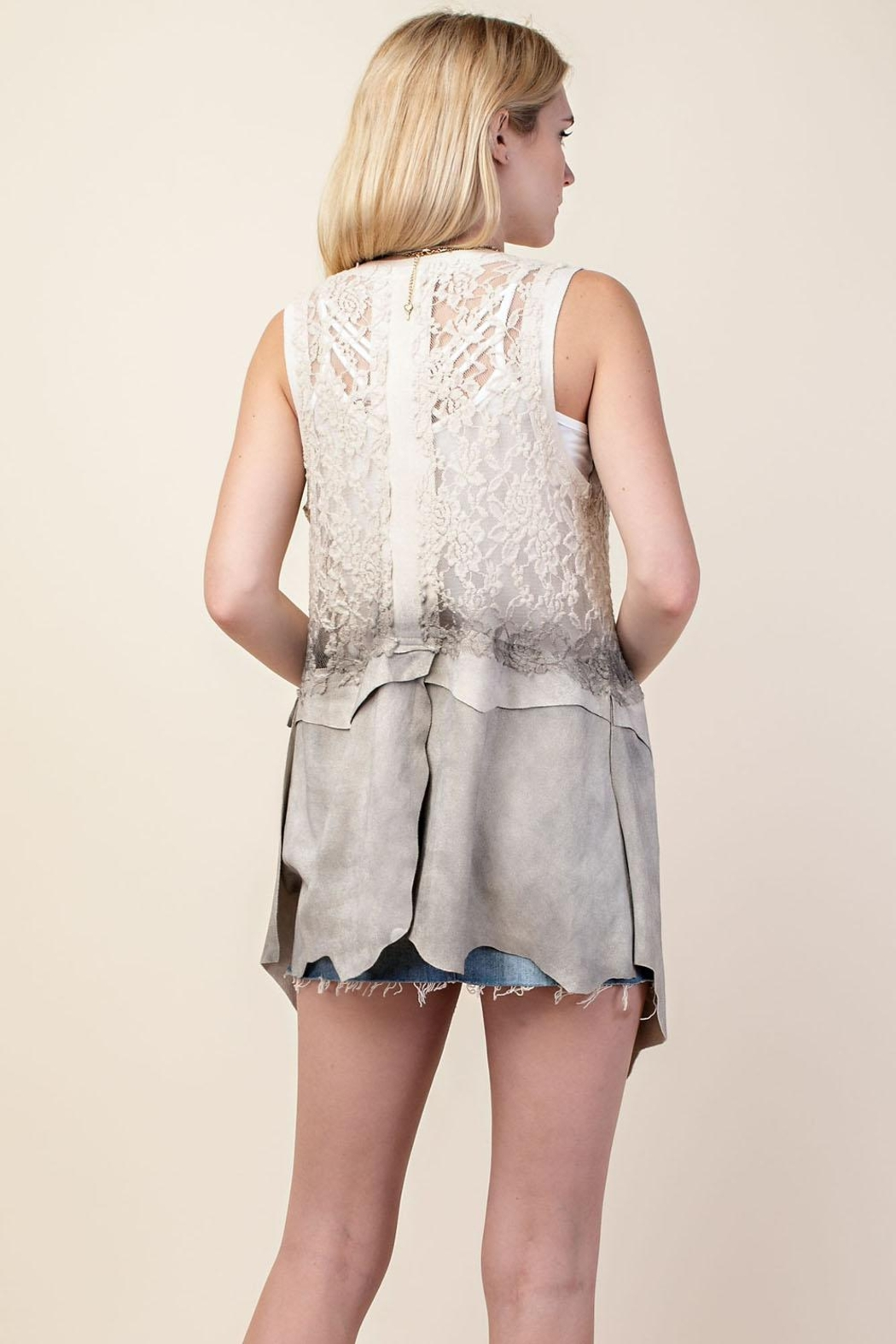 Vocal Lace and Suede Vest - Front Full Image