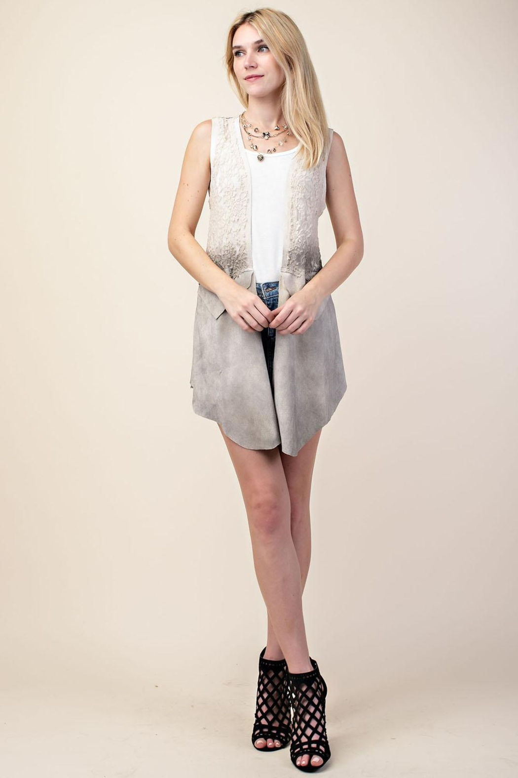 Vocal Lace and Suede Vest - Main Image