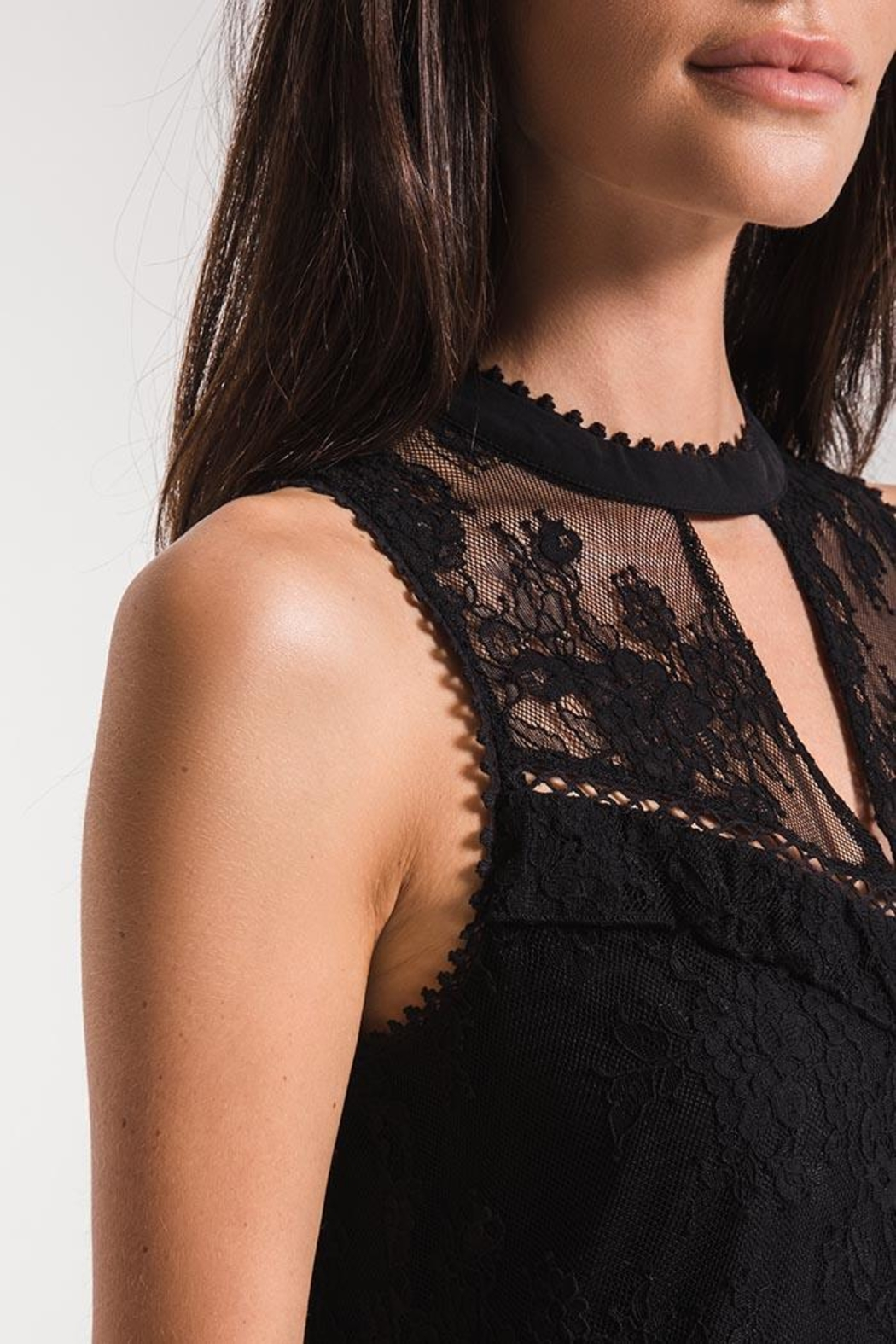 Black Swan Lace Babydoll Dress - Front Full Image
