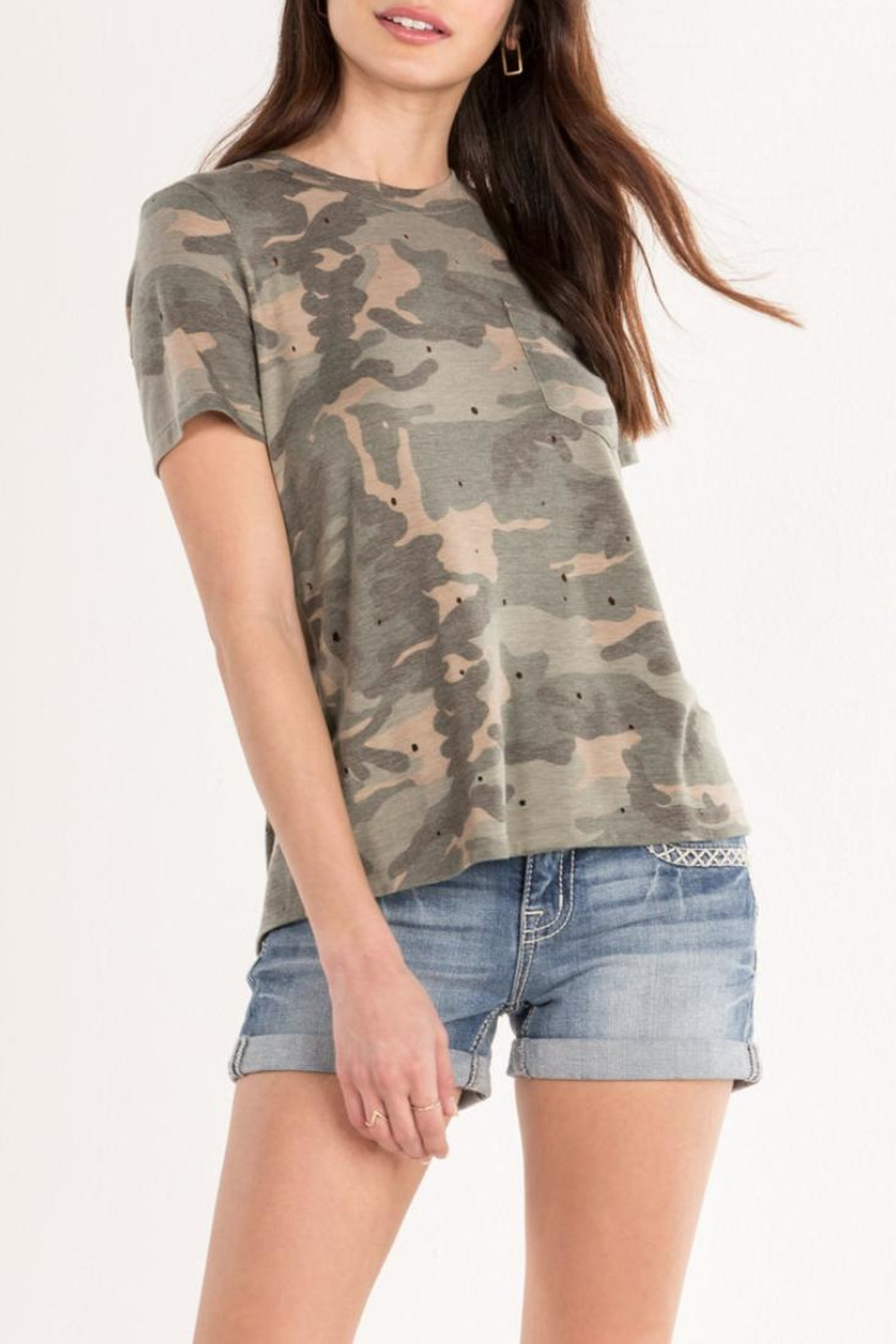 Miss Me Lace-Back Camo Tee - Front Full Image