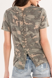 Miss Me Lace-Back Camo Tee - Other