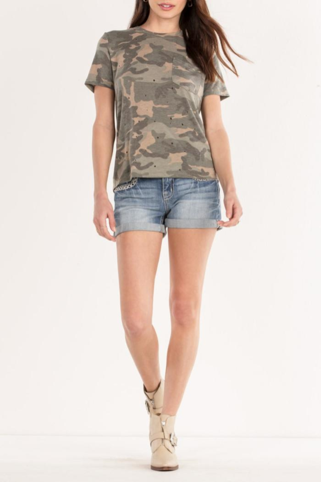 Miss Me Lace-Back Camo Tee - Back Cropped Image