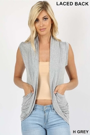 Zenana Outfitters Lace Back Cardigan - Front cropped