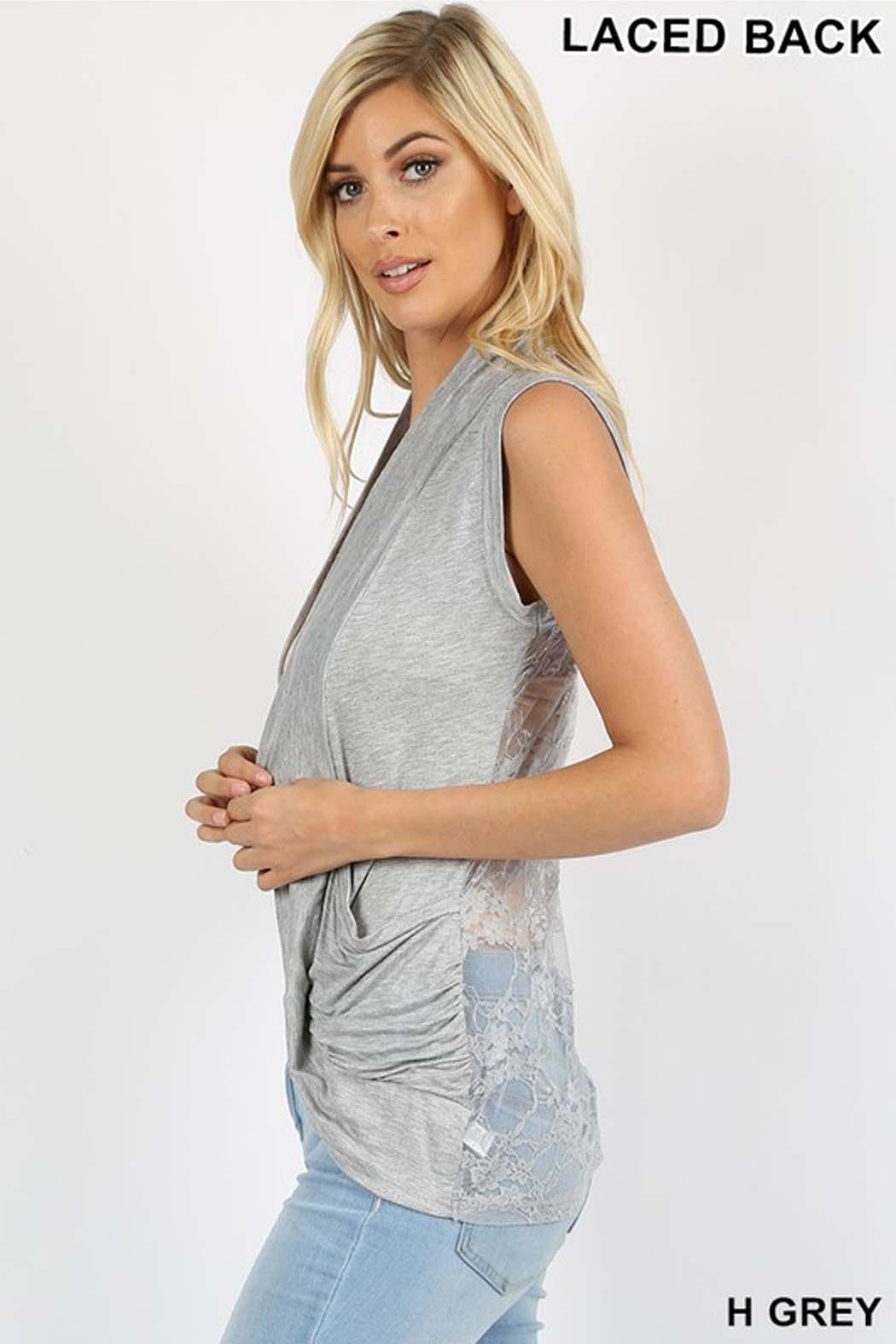 Zenana Outfitters Lace Back Cardigan - Front Full Image