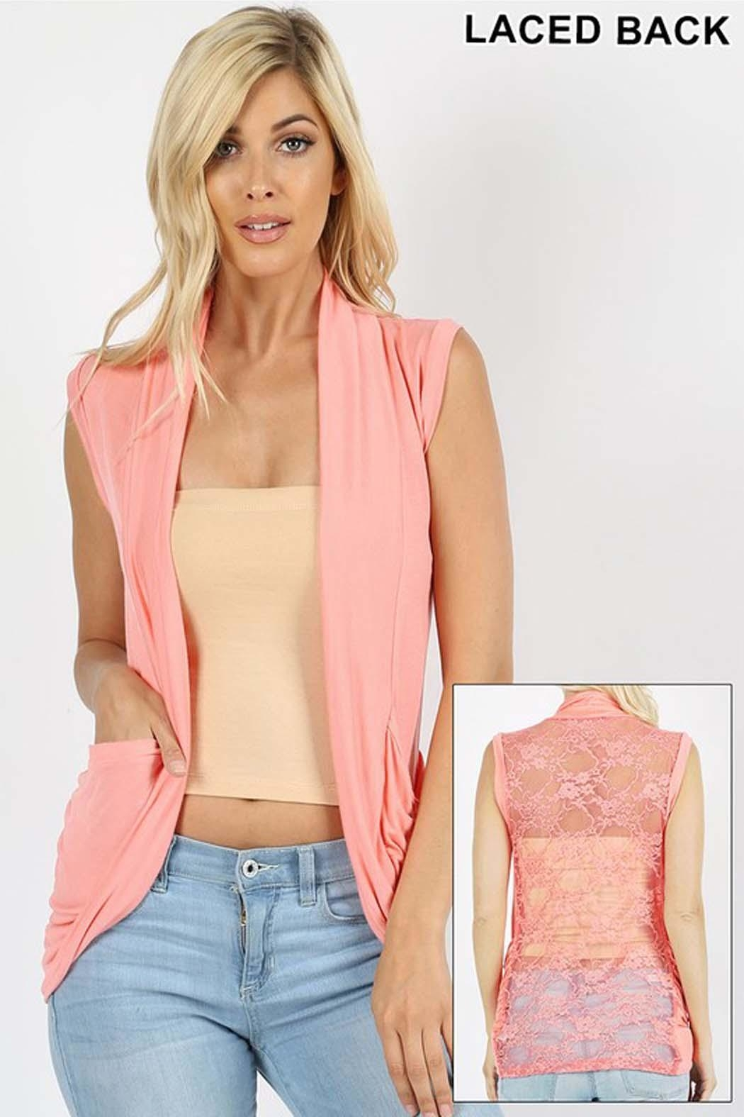 Zenana Outfitters Lace Back Cardigan - Front Cropped Image