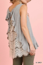 Umgee USA Lace-Back Ruffle Tank - Front cropped