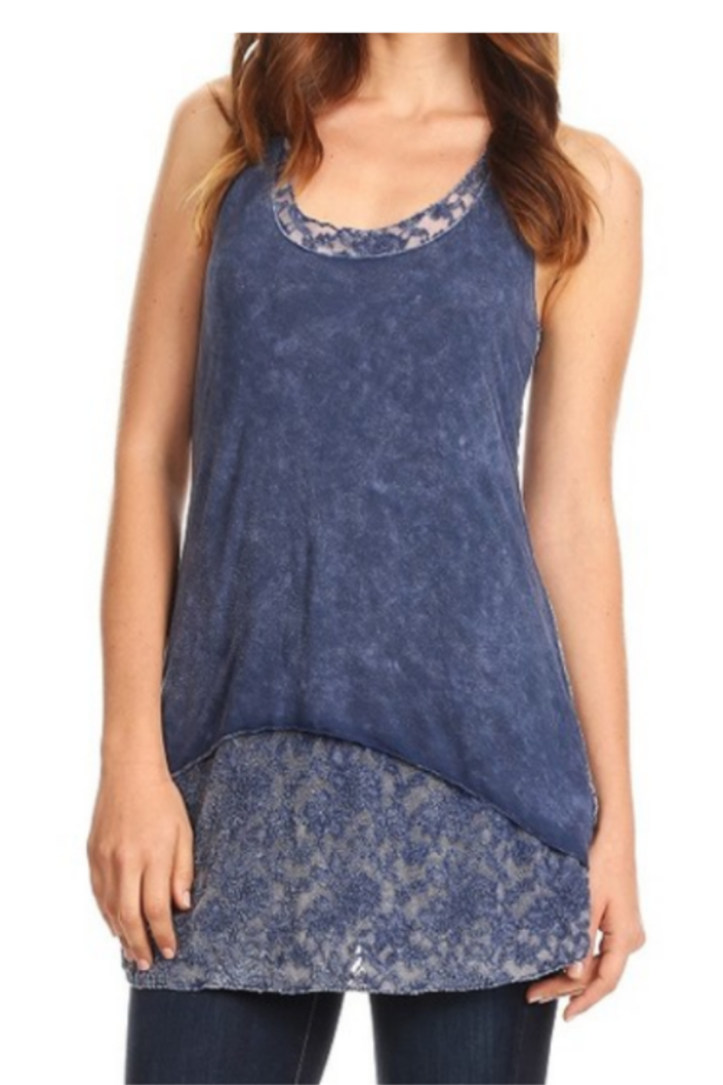 T-Party  Lace Back Soft Knit Sleeveless Top - Main Image