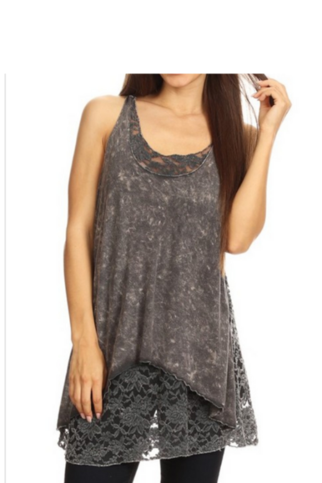 T-Party  Lace Back Soft Knit Sleeveless Top - Front Cropped Image