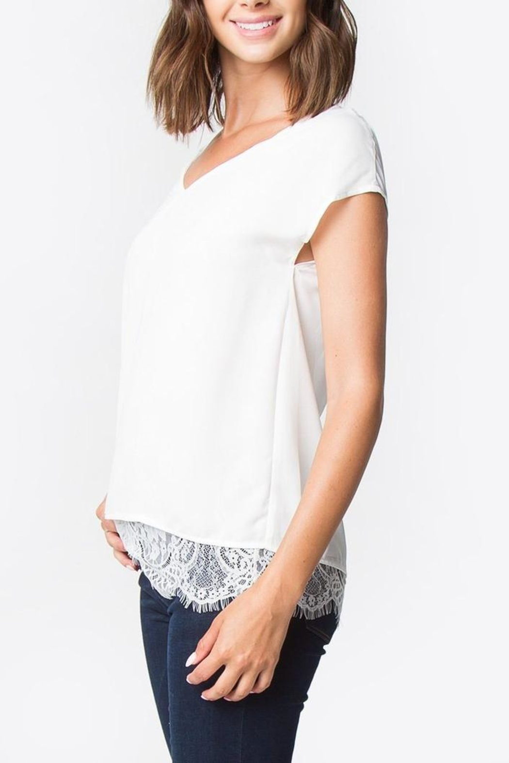 Sugar Lips Lace Back Top - Side Cropped Image