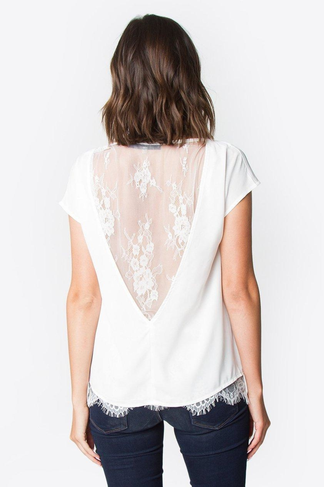 Sugar Lips Lace Back Top - Back Cropped Image