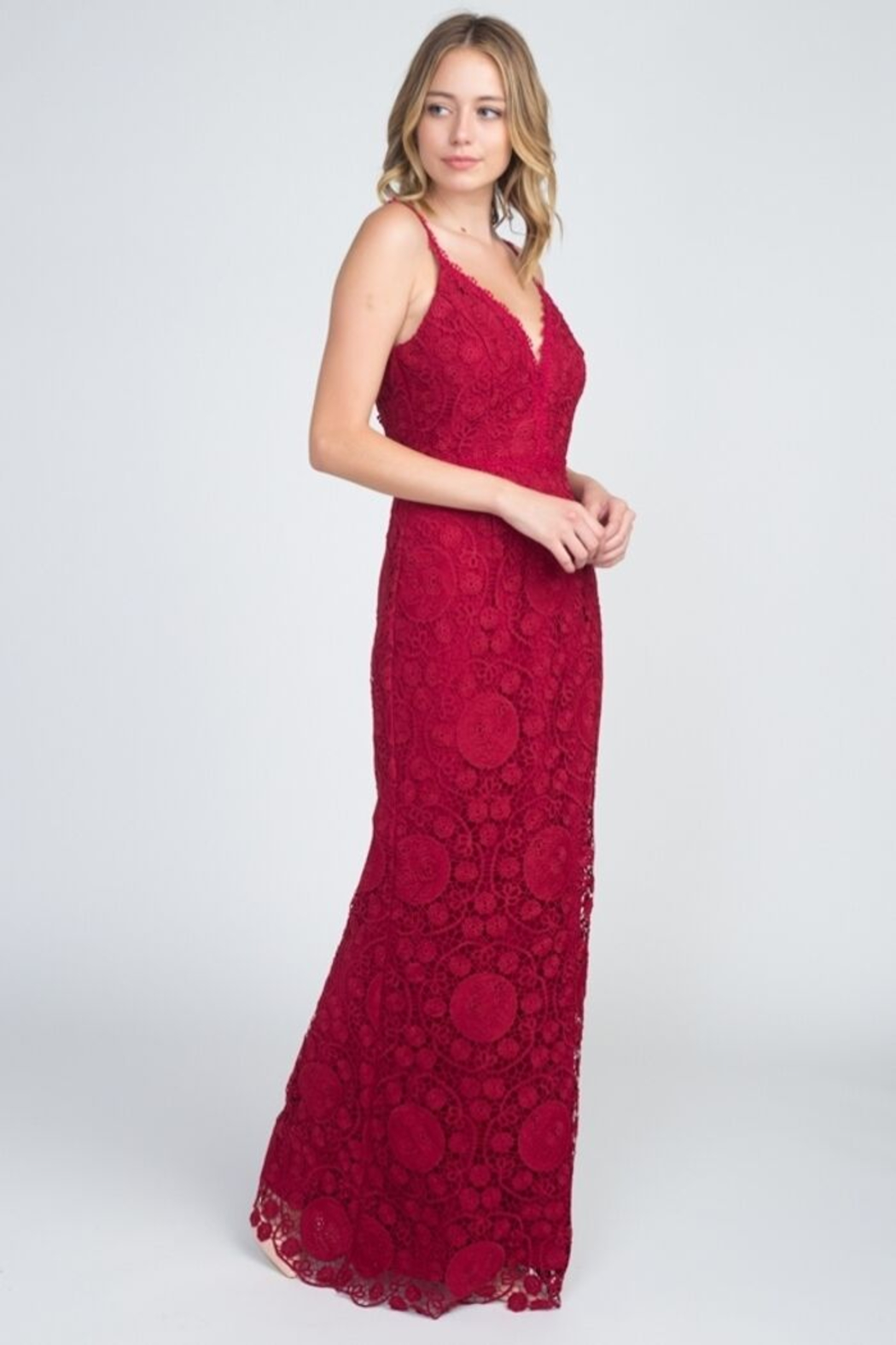 Minuet Lace Backless Gown - Side Cropped Image